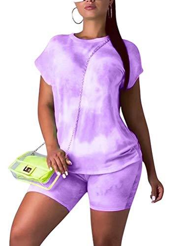 KOOBETON Womens Bodycon 2 Pieces Outfit Colorful Tie Dye T Shirts Shorts Sports Tracksuit Light Purple L