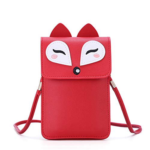 Women Small Crossbody Bag - Cell Phone Purse Smartphone Wallet Cute Animal Bags (Red-Fox)