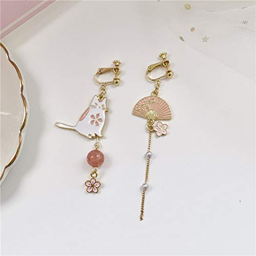 Un par de pendientes de aleación de moda pendientes de gato asimétricos de borlas largas colgantes de perlas retro joyería (Color del metal: color oro amarillo claro).