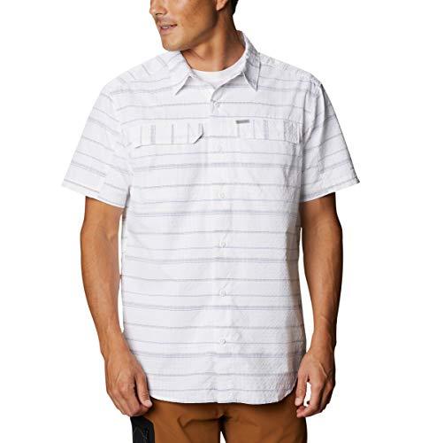 Columbia Men's Silver Ridge Short Sleeve Seesucker Shirt, Moisture Wicking, Sun Protection, White Stripe, Medium