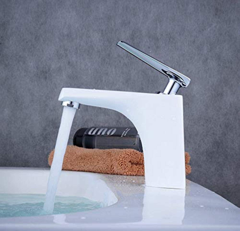 ROKTONG Mono Basin Mixer Tap Bathroom Sink Taps Lever Wash Basin Faucet White