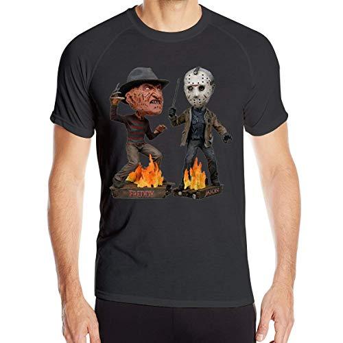 fenglinghua Herren Kurzarm T-Shirts Mens Freddy Krueger&Jason Quick Drying Short Sleeve Athletic Tee Shirts