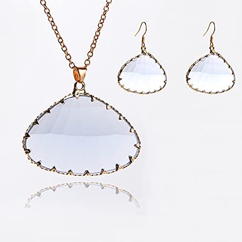 WDBUN Collar Colgante Joyas Moda Minimalista Vidrio Cobre Accesorios triángulo Colgante Pendientes Collar Conjunto cumpleaños Fiesta Regalo