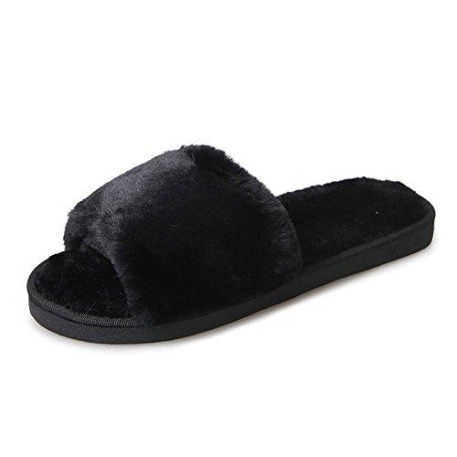 Hausschuhe Damen Plüsch Pantoffeln Rutschfester Warm Mädchen Hausschuh Hause Schuhe Pantoletten Weiche Sohle Bequem Flip Flop Sandalen Schwarz 36 37