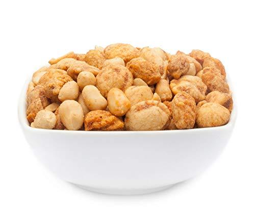 1 x 450g Nussmischung BBQ Erdnuss Mix mit Nuss-Varianten gewürzt im Teigmantel 22% Protein