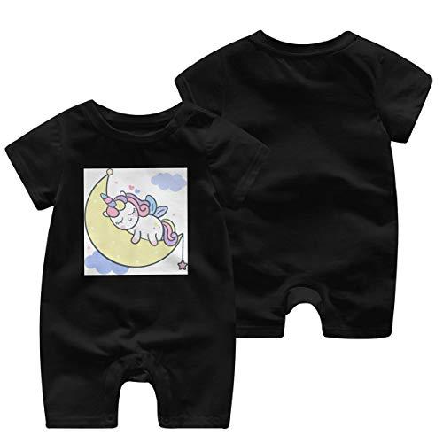 JOJOshop Leuke Eenhoorn Maan Cartoon met Slapende Tijd Baby Jumpsuit Korte Mouw Zomer Romper