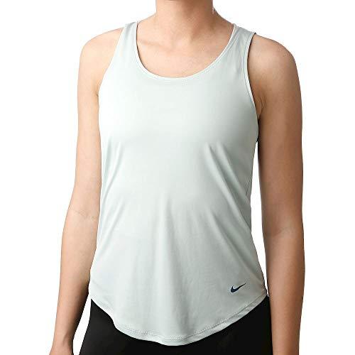 Nike W NK Dry TNK SSNL Essntl Elstk Débardeur Femme Pistachio Frost/Mystic Navy FR: L (Taille Fabricant: L)