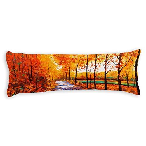 CiciDI - Federa per cuscino da letto laterale, 40 x 145 cm, motivo paesaggio naturale, traspirante, con cerniera in cotone e poliestere, federa per cuscino lungo corpo