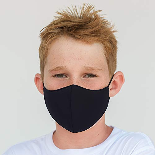 Youth Washable Face Mask with Adjustable Earloops & Nose Wire - 3 Layers, 100% Cotton Inner Layer - Ages: 6-12 - Cloth Reusable Face Protection with Filter Pocket (Solid Black)