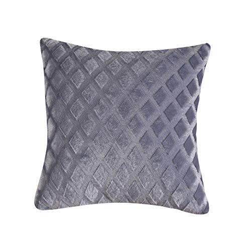 Muium(TM) Einfarbig Plüsch Kissenbezüge Dekokissen Kissenbezug Weicher Plüsch Kissenhülle Diamant Muster Kissenbezüge Quadrat Pillowcase mit Verstecktem Reißverschluss für Sofa Bed Decor (C)