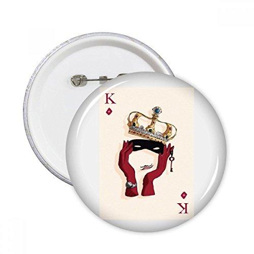 DIYthinker Jugar Tarjetas de regalo Diamante K Modelo redondo botones insignia del botón de la ropa 5pcs Decoración Multicolor XXL