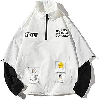 HAWEEL Letters Printed Pullover Jacket Couple Loose Casual Jacket Windbreaker Jacket