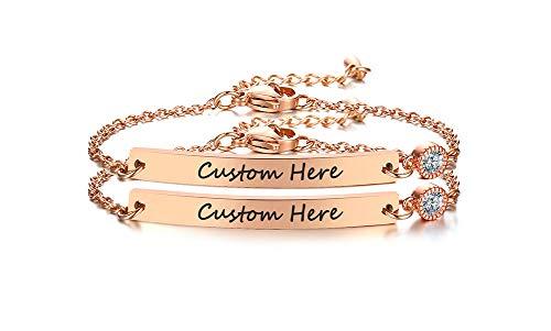 VNOX Benutzerdefinierte Gravur Zirkon Bar Armband für Frauen Freundschaft Familie Armbänder für Frauen Kette Armband Unendlichkeit Liebe personalisierte Beste Brautjungfer Hochzeit Abschlussgeschenk