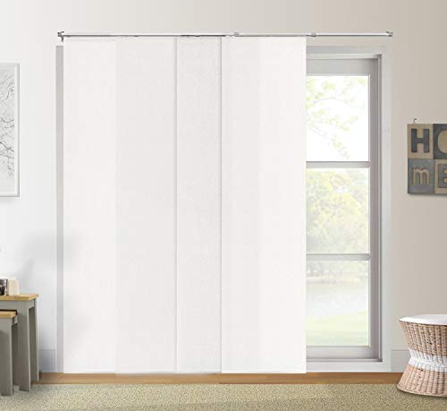 Chicology Adjustable Sliding Panels Cut to Length Vertical Blinds, Up to 80' W X 96' H, Urban White (Light Filtering)