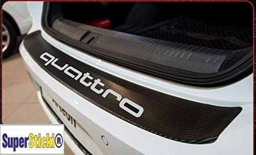SUPERSTICKI compatibel voor Audi Quattro Carbon Carbonfolie Carbon Sticker Optic achtersticker ca 140 cm uitgesneden racesport Racing Tuning