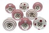 knoa - Tiradores pintados a mano para muebles, rosado y blanco (juego de 8)