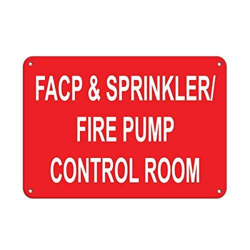 JeremyHar75 Facp & Sprinkler/Fire Pump Control Room Fire Sign Aluminium Metall Schilder Warnschilder Lustige Sicherheits-Zeichen für Haus Hof, Schild 8x12