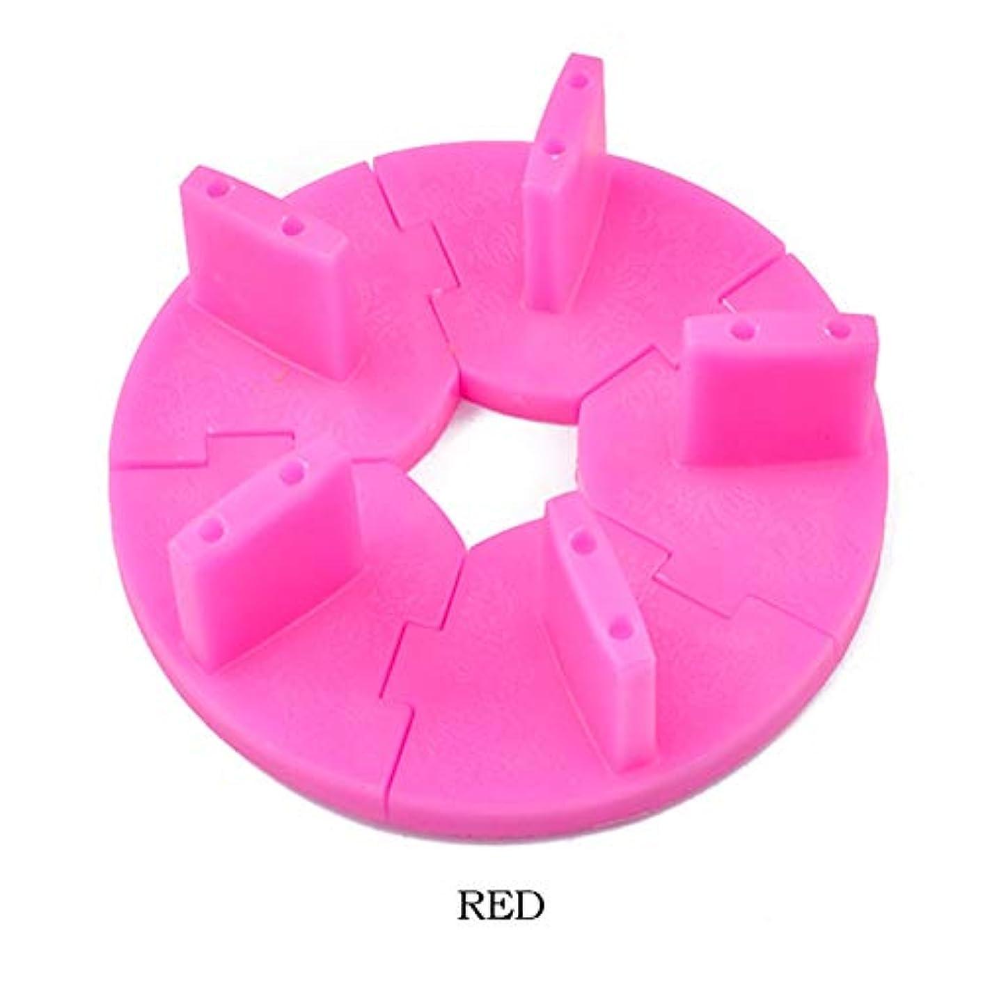 起こるシマウマ歯科のICYCHEERプラスチックネイルアートの表示シート取り外し可能ロータストレーニングフレームDIYのヒント練習 (Red)