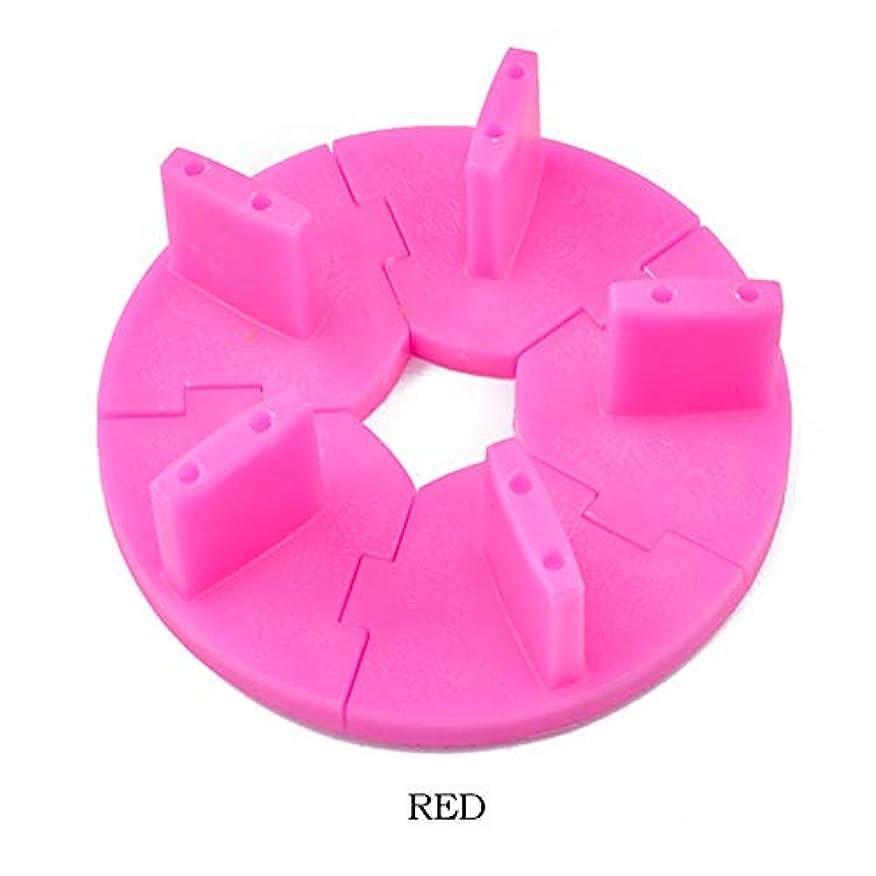 胃牛肉宗教ICYCHEERプラスチックネイルアートの表示シート取り外し可能ロータストレーニングフレームDIYのヒント練習 (Red)