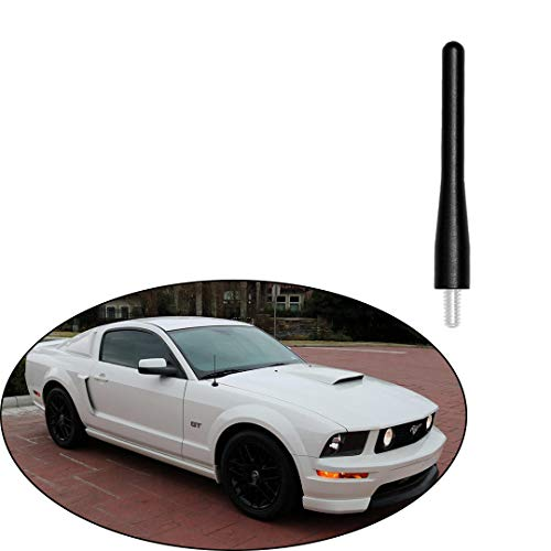 "Black 3.6"" Aluminum Short Direct Replacement Screw Thread Performance Antenna Mast Whip fits Ford 1995-2010 Ford Explore, 1994-2009 Ford Mustang"
