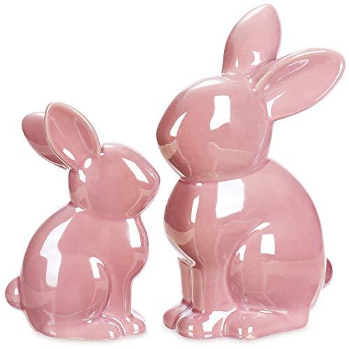 com-four® 2X Conejito de Figura Decorativa Premium, Conejito de Pascua espléndidamente Brillante en Aspecto de nácar, magnífica decoración de Pascua de cerámica (2 Piezas 10 + 20cm Rosa)