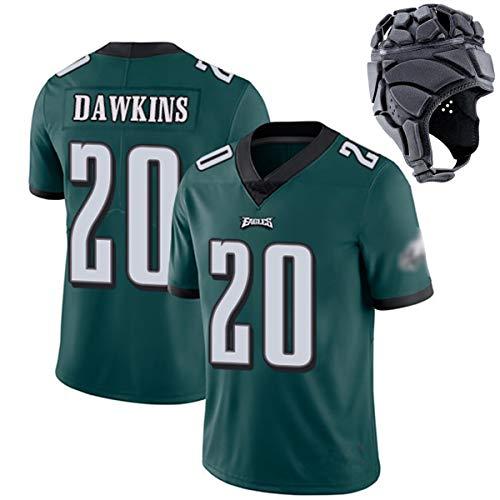 Herren Rugby-Trikot, WENTZ11# JENKINS27# JEFFERY17# DAWKINS20# ERTZ86# COX91# Rugby-Uniform, Sportswear-T-Shirt, Kopfbedeckung mit Schutzausrüstung-Green20-L