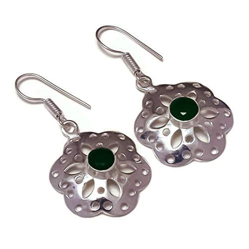 Pendientes colgantes con forma de flor de ónix verde, chapados en plata, hechos a mano