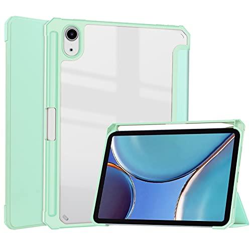 DWaybox - Custodia per Apple iPad Mini 6 2021 da 8,4', con supporto trifold e funzione di supporto, con portapenne, trasparente e trasparente per iPad Mini (6a generazione), colore: verde menta