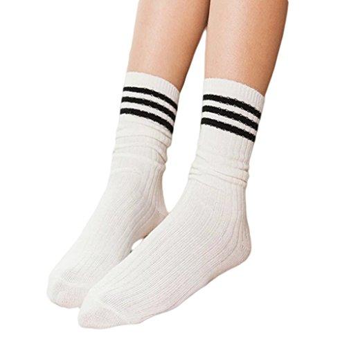Bigood 1 Paire Chaussette Femme Hiver Chaussettes en Laine Epais Rayures Sport Casual Chic Blanc