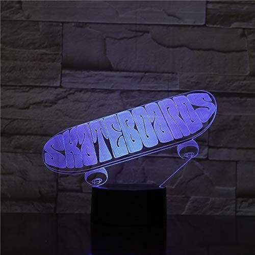 GX1956 Sporting Skateboard 3D Tischlampe Kinder Spielzeug Geschenk LED USB Dreidimensional Innovative Desktops DownNight Lichtregler Mood Remote Decor