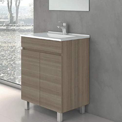CTESI Conjunto de Mueble de baño con Lavabo de Porcelana y Espejo - con 2 Puertas - El Mueble va MONTADO - Modelo Luup (60 cms, Estepa)