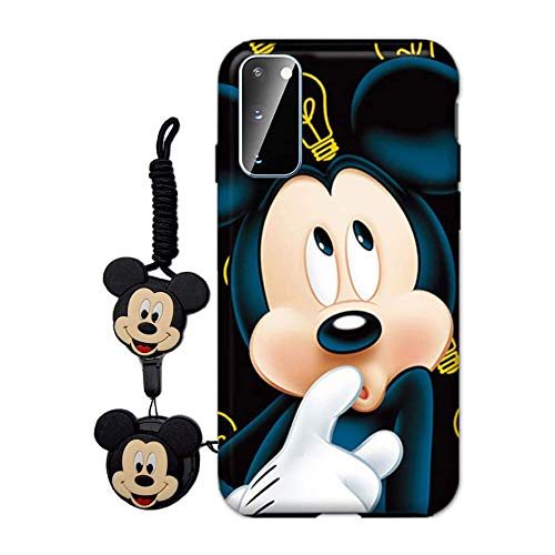 MME Cartoon Case for Galaxy S21 5G - Mickey Minnie Mouse Case Cute 3D Character Case Soft TPU with Phone Stand Holder and Neck Strap Lanyard for Girls (Blue, S21 5G)