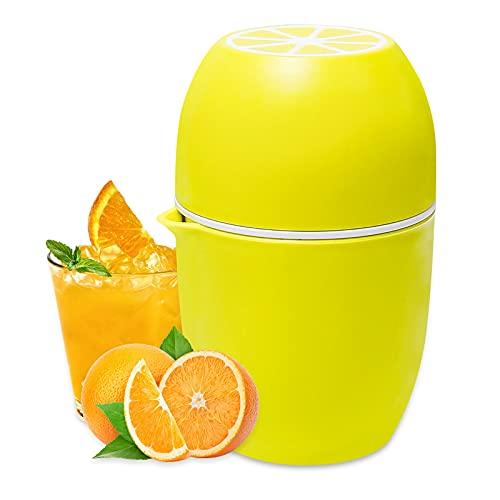 Zitronenpresse, Saftpresse Manuelle mit Aufbewahrungsbecher, Zwei Manuelle Pressmodi Mini Orangenpresse, Multifunktionale Zitruspresse mit Filtersieb für Verschiedene Formen von Früchten (Gelb)