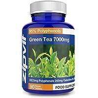 Extracto de Té Verde 7000 mg 90 Tabletas. Máxima Concentración. Para Hombres y Mujeres. Vegano