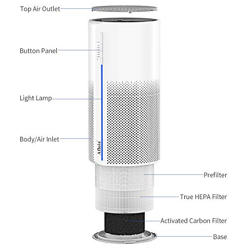 Air Purifiers for Home, Ture HEPA Active Carbon Cleaner Filter, 360° 3-Layer Filtration, Whisper Quiet Desktop Air Cleaner for Small Space, Remove Smoke, Allergies and Pet Dander, Pollen, Afloia MIRO