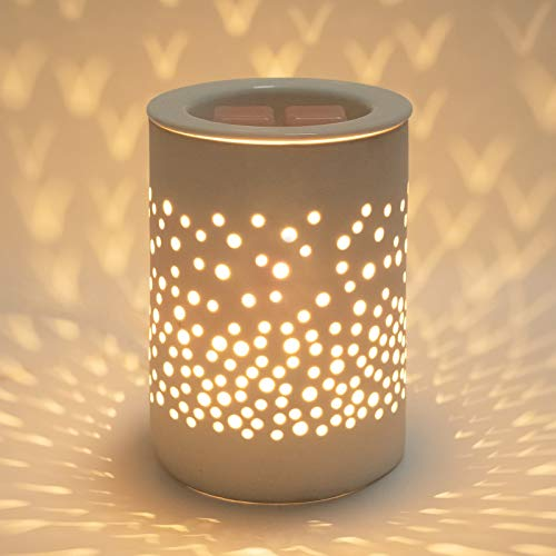Bobolyn Ceramic Electric Oil Burner Wax Melt Burner Warmer Melter Fragrance Oil Burner for Home Office Bedroom Living Room Gifts & Decor (White-Halo House, Upgraded Version)