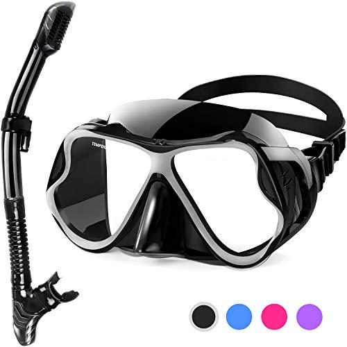 Fenvella Set Snorkeling, Anti-Fog Maschera Snorkeling con Panoramica a 180 Gradi e Boccaglio Snorkel, Kit Snorkeling Professionale per Adulti (Nero)