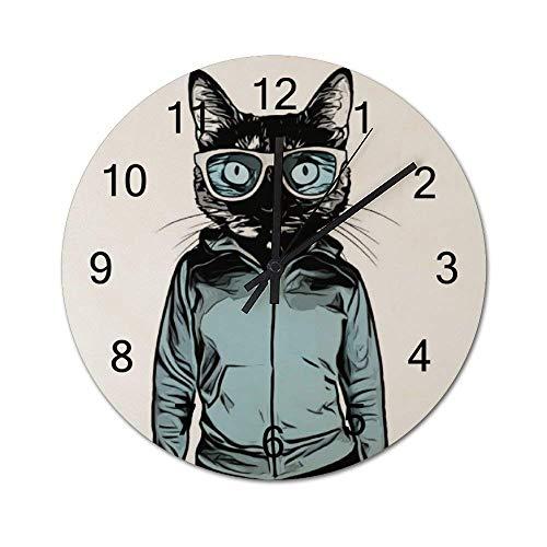 Reloj de pared de madera redondo rústico silencioso que no hace tictac de 10 pulgadas Cool Cat of a Cat con gafas de sol y una sudadera con capucha Decoración de pared de granja vintage para el hogar,