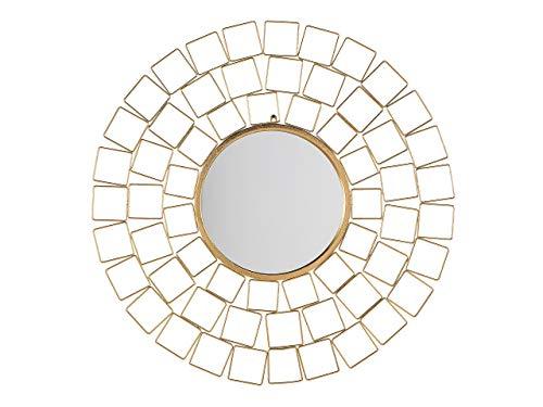 Beliani Stilvoller Spiegel rund Metall 90 x 90 cm Sonnen Optik Gold Labrit