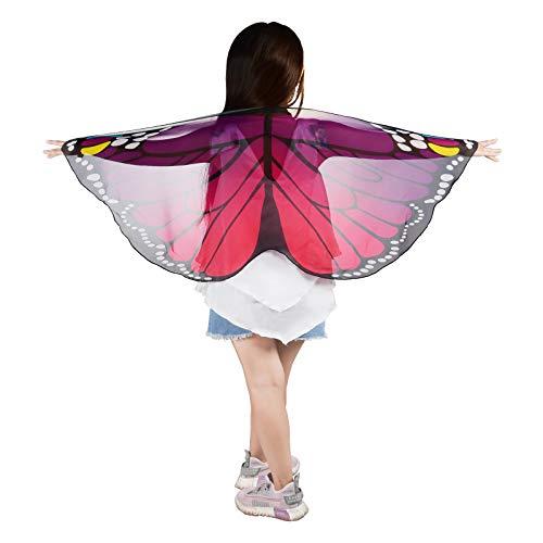 ReliBeauty Alas de Mariposa Disfraz niña Carnaval,Púrpura