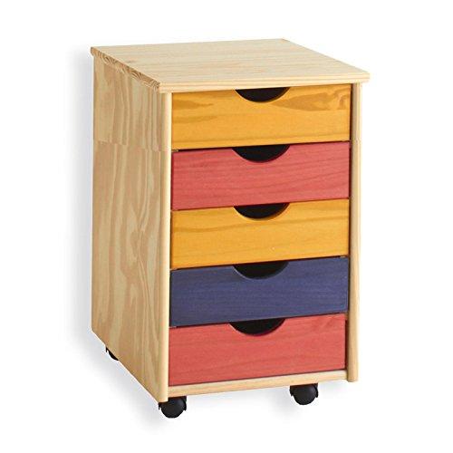 IDIMEX Rollcontainer Bürocontainer Container Schubladencontainer Lagos, Kiefer massiv in bunt, 5 Schubladen, 4 Doppelrollen