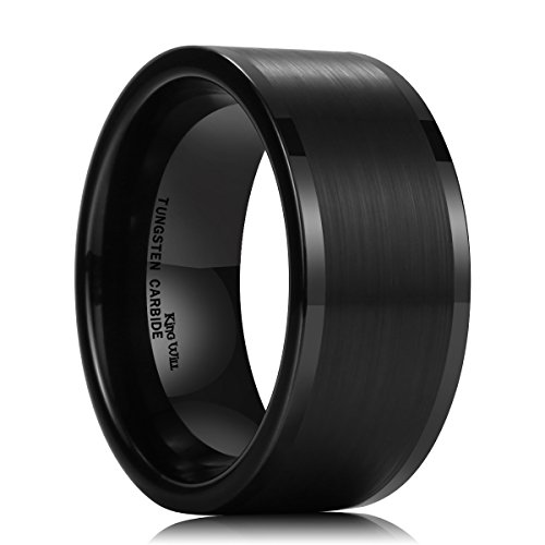 King Will Basic Men's 10MM Black Tungsten Carbide Ring Brushed Matte Wedding Engagement Band 11.5