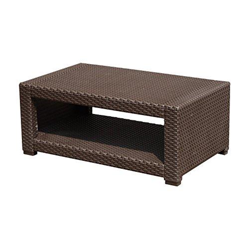 Outsunny Tavolino da Giardino Staccabile in Rattan 93x 56x 38,5cm Marrone