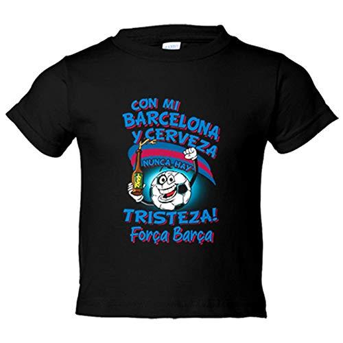 Camiseta niño frase con mi Barcelona y cerveza nunca hay tristeza fútbol - Negro, 12-18 meses