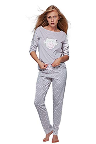 S& SENSIS edler Baumwoll-Pyjama (Made in EU) Hausanzug aus schickem Oberteil und toller Hose, Gr. L (40), Hellgrau/Weiß mit Eule