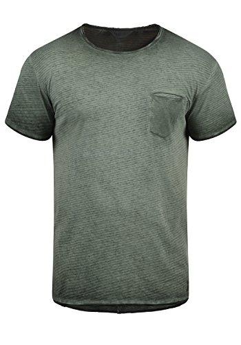 !Solid Roy Camiseta De Rayas Básica De Manga Corta para Hombre con Cuello Redondo De 100% algodón, tamaño:M, Color:Climb Ivy (3785)