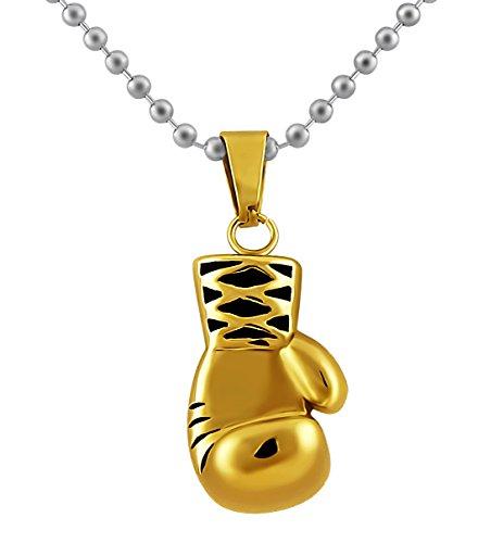 Hanessa Herren-Schmuck Gold Box-Handschuh Halskette Edelstahl Kette Geschenk Mann Boxen Sport Kampf Geschenk zu Weihnachten für den Freund/Mann