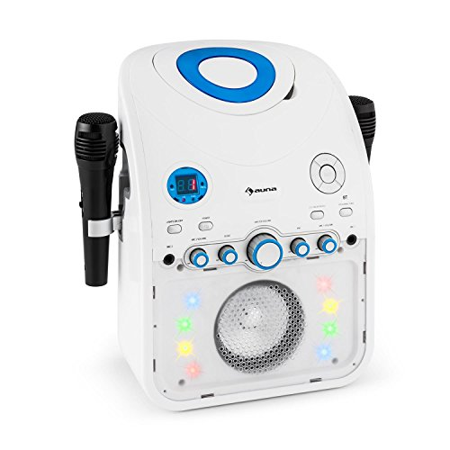 Auna StarMaker - Karaoke, 2 microfoni dinamici Via Cavo , Bluetooth , Altoparlante Integrato , CD + G-Player , Top Caricamento , Effetto Eco , A.V.C. Funzione , Effetti Luce LED , Bianco