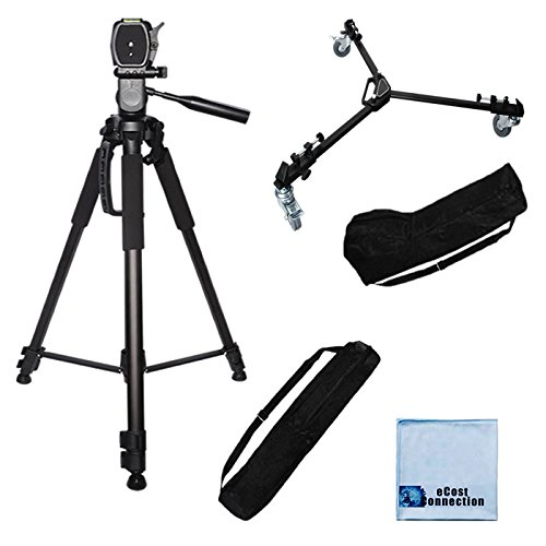 72' inch Elite Series Tripod + Elite Series Professional Universal Tripod Dolly w/One Step Easy Lock & Locking Wheels and Carrying Cases. Works for All DSLR Cameras + eCostConnection Microfiber Cloth