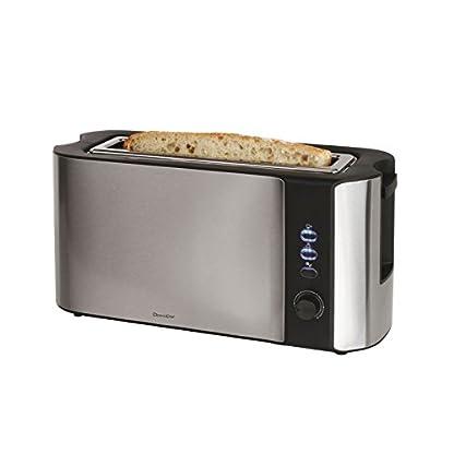 Profi-Edelstahl-Toaster-Breiter-Brot-Schlitz-1000-Watt-LED-Anzeige-6-Stufen-Aufwaermfunktion-Bagel-Toaster-Schnellstopp-Kruemelschublade